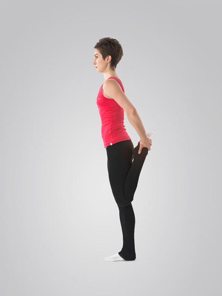 Амплитуда растягивания четырехглавой мышцы бедра гораздо больше, когда нет объемных мышц задней поверхности бедра - вид сбоку